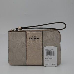 Coach Corner Zip Wristlet Wallet in Metallic NEW